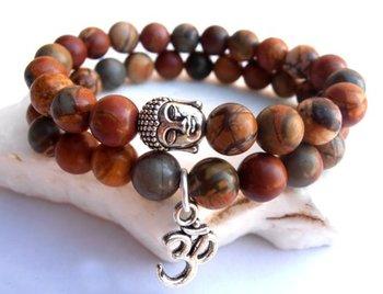 M.O.I - Buddha armband - set van 2 kralenarmbanden met zilveren Buddha en symbool Ohm - kleur bruin (gemeleerd)