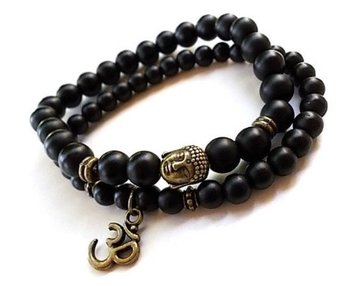 M.O.I - Buddha armband - set van 2 armbanden met bronzen Buddha en symbool Ohm in de kleur mat zwart