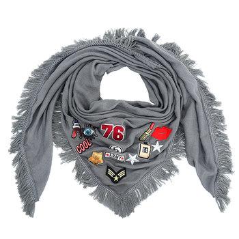 M.O.I - Trendy grijze sjaal met patches