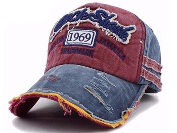 M.O.I - Snapback cap - baseball cap - voor mannen in een vintage look blauw/rood