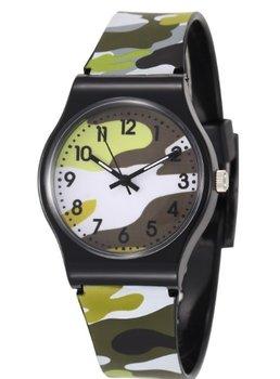 M.O.I - Stoer kinderhorloge met leger/camouflage print in de kleur groen