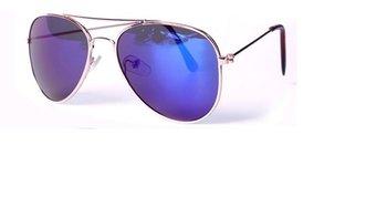 M.O.I - Hippe kinder zonnebril retro piloten model met blauwe glazen