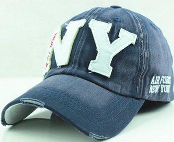 New York - Denim Snapback cap - baseball cap - voor mannen in blauw/wit