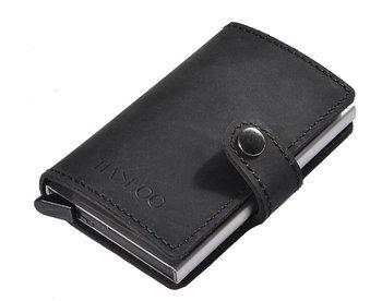 M.O.I - Leren mini portemonnee met cardprotector kleur zwart