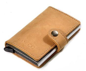 M.O.I - Leren mini portemonnee met cardprotector kleur kaki