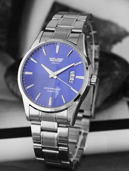 SWIDU stijlvol herenhorloge blauw 40 mm