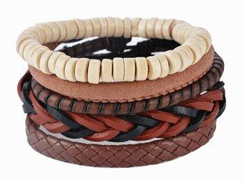 M.O.I - Bruin gevlochten leren armband met houten kralen