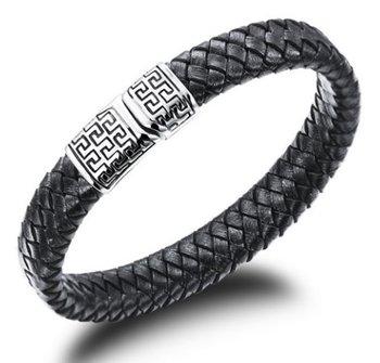 M.O.I - Stalen herenarmband gevlochten leer - zwart met stainless steel sluiting - met zwart motief