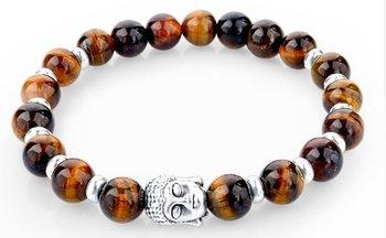 M.O.I - Buddha armband - tiger eye kralenarmband met zilveren buddha en extra zilver accenten