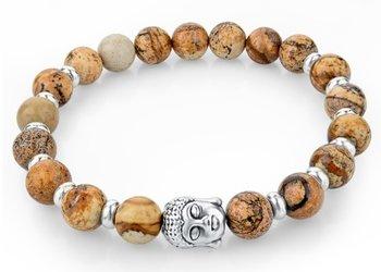 M.O.I - Buddha armband - gray-yellow kralenarmband met zilveren buddha en extra zilver accenten