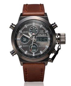 Amuda - Bruin Lederen Quartz Horloge Mannen 46 mm