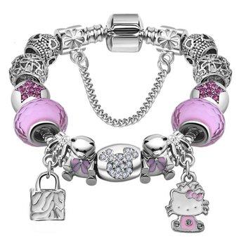 M.O.I - Kinder armband met bedels -bedelarmband- beertjes en katje -roze - 17 cm