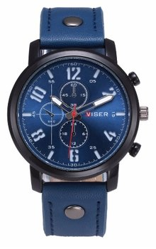 Curren VISER - casual heren horloge - kleur blauw 45 mm