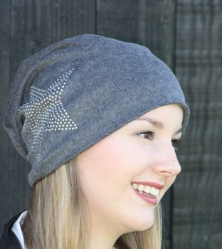 M.O.I - Baggy dames beanie grijs met ster