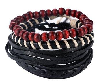 M.O.I - Zwart gevlochten leren armband met houten kralen - Leren armband met schuifknoop - samengesteld uit 4 losse armbanden