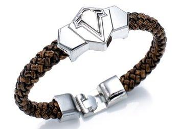 M.O.I - Stoere jongens armband - kinder armband - bruin-zwart - met RVS symbool
