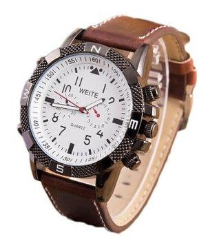 Weite herenhorloge donker-bruin 47 mm