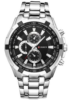 Curren - heren horloge - staal - zilverkleurig/zwart - 47mm