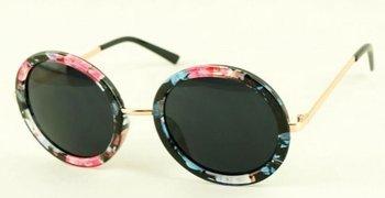 M.O.I - Ronde zwarte zonnebril met bloemetjes motief
