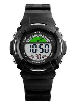West Watch – digitaal stoer kinder sport horloge - model Wood - Zwart