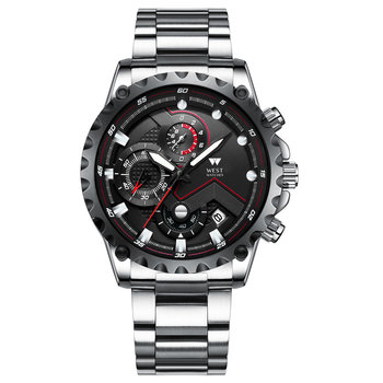 West Watch Paris – Herenhorloge – Stainless Steel – Datum – Stopwatch – 44 mm - Silver/Black