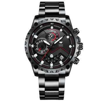 West Watch Paris – Herenhorloge – Stainless Steel – Datum – Stopwatch – 44 mm - Black/Black