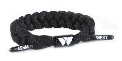 West Bracelet - Model Rope - Stoere gevlochten kinder armband / tiener armband - Touw armband - Verstelbaar - Kleur zwart