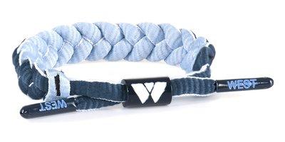 West Bracelet - Model Rope - Stoere gevlochten kinder armband / tiener armband - Touw armband - Verstelbaar - Omkeerbaar - Kleur donkerblauw/ lichtblauw