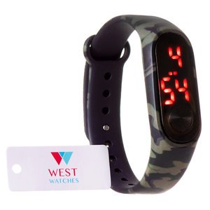 West Watch - LED kinder sport horloge - model Sun - 16 mm - camouflage / leger kleur groen